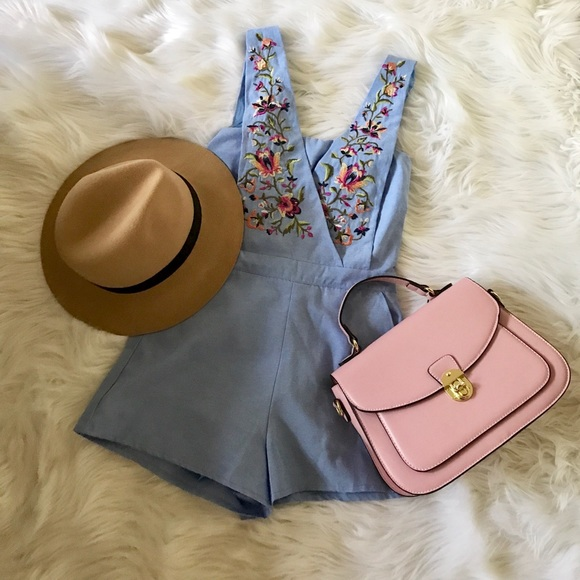Dresses & Skirts - JACQUELINE - Light Blue Denim Romper